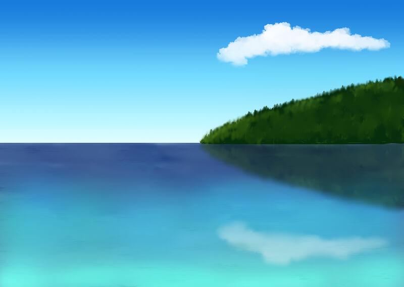 水面に映る山