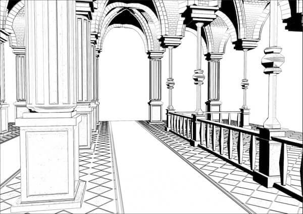 線画抽出(城廊下)
